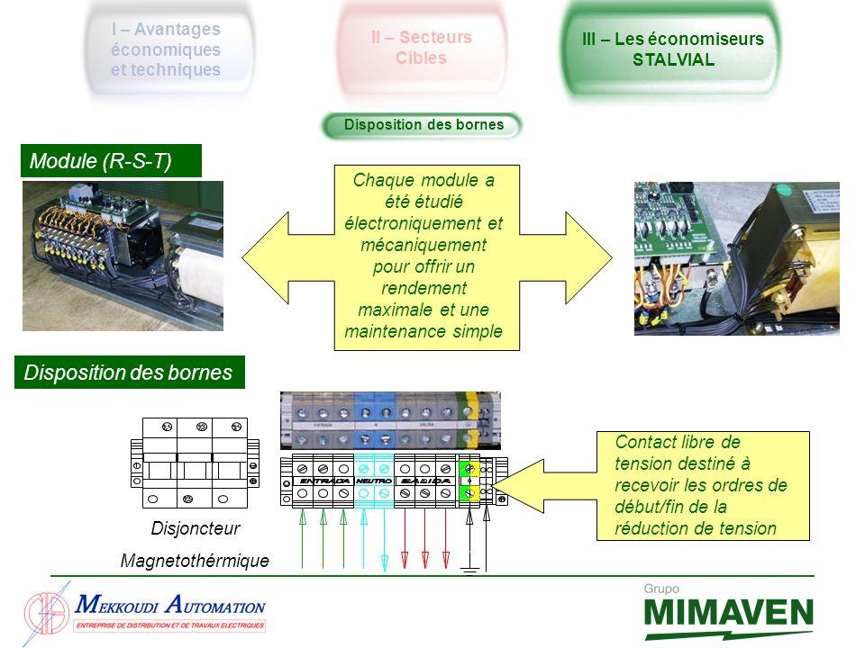 Disposition des bornes Module (R-S-T) Disposition des bornes Chaque module a été étudié électroniquement et mécaniquement pour offrir un rendement max