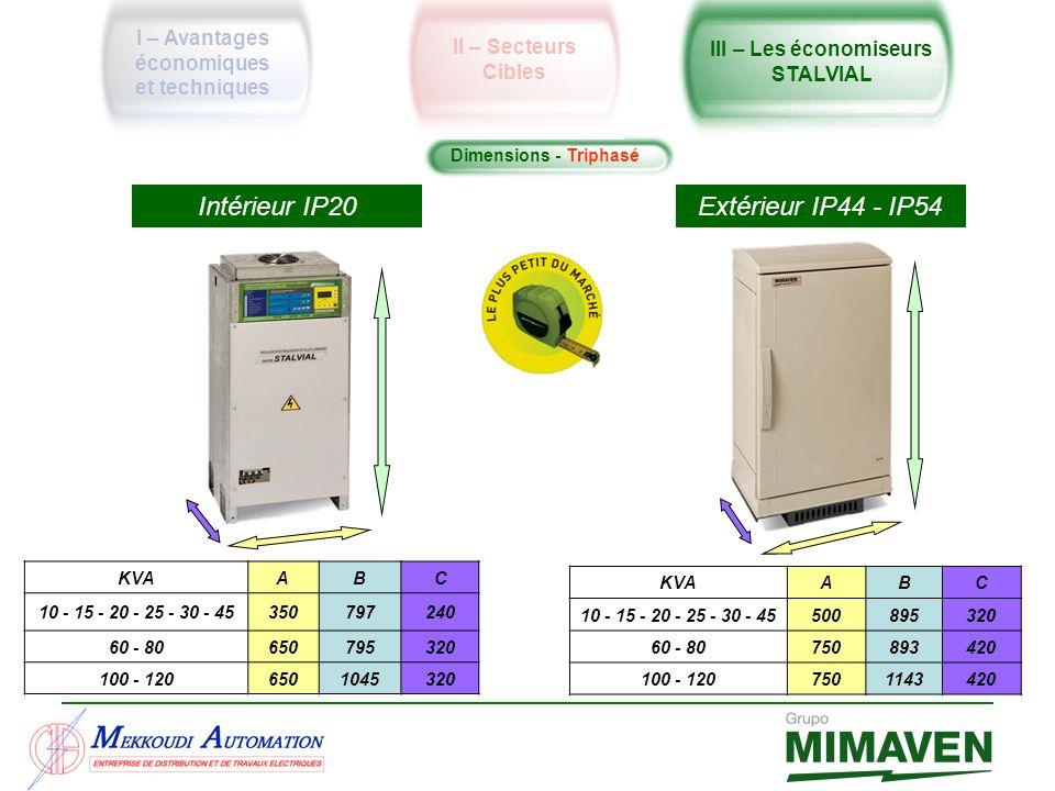 Dimensions - Triphasé Intérieur IP20 Extérieur IP44 - IP54 KVAABC 10 - 15 - 20 - 25 - 30 - 45350797240 60 - 80650795320 100 - 1206501045320 KVAABC 10