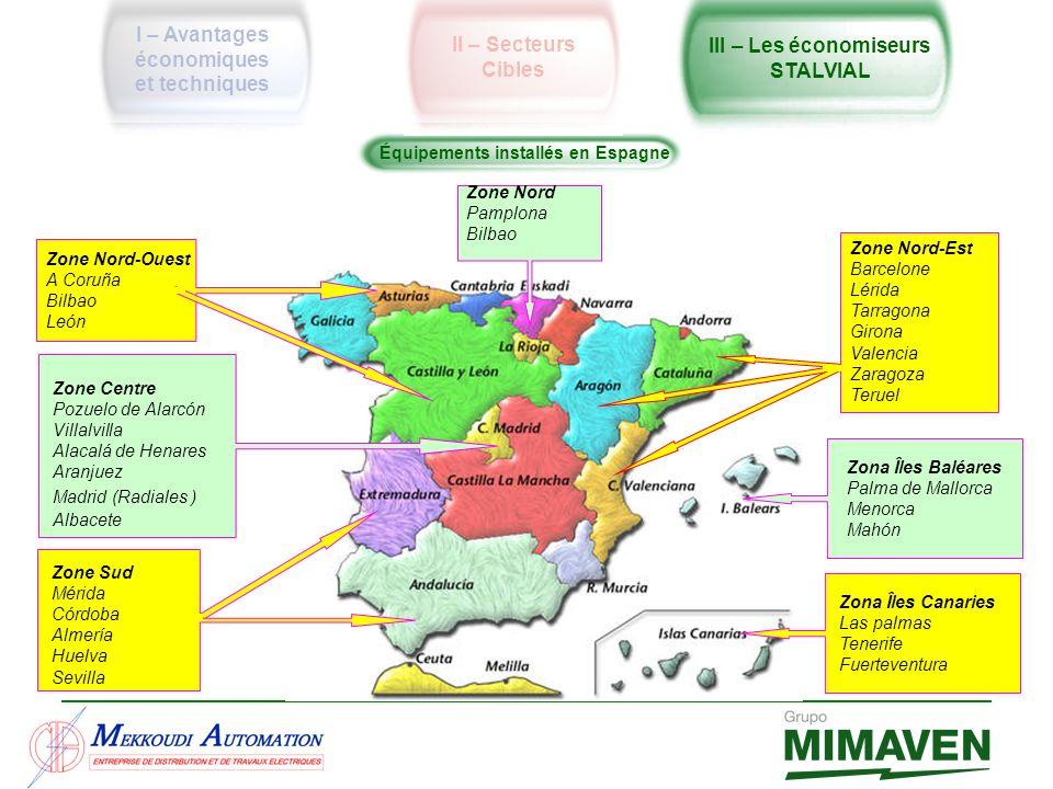 Équipements installés en Espagne Zone Centre Pozuelo de Alarcón Villalvilla Alacalá de Henares Aranjuez Madrid (Radiales ) Albacete Zona Îles Baléares