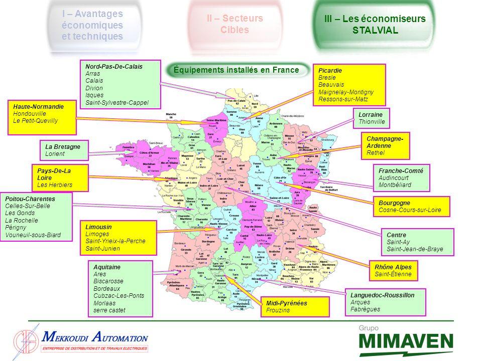 I – Avantages économiques et techniques II – Secteurs Cibles III – Les économiseurs STALVIAL Équipements installés en France Languedoc-Roussillon Arqu