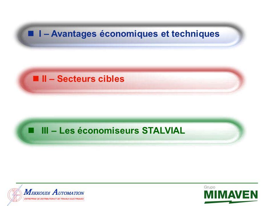 III – Les économiseurs STALVIAL I – Avantages économiques et techniques II – Secteurs cibles