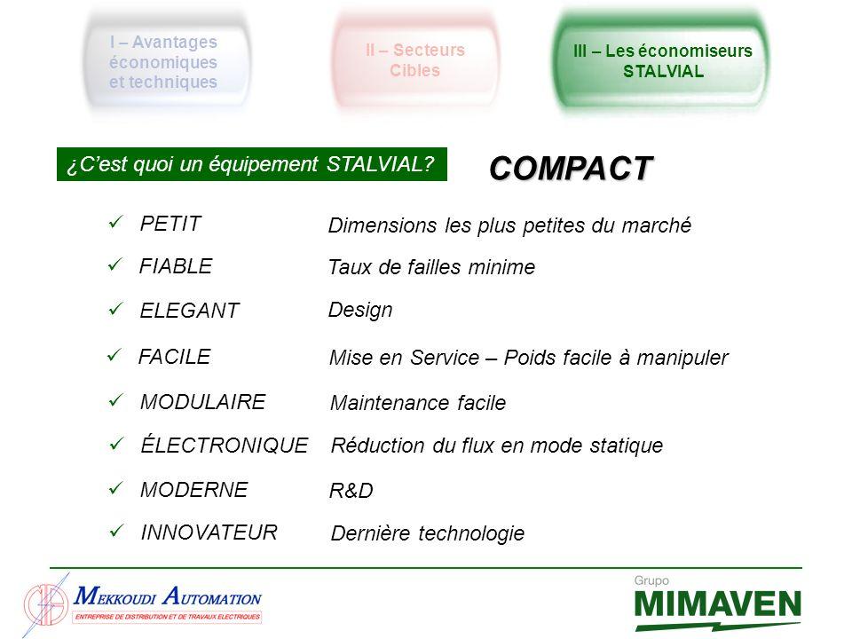 ¿Cest quoi un équipement STALVIAL? COMPACT PETIT FIABLE ELEGANT FACILE Design Dimensions les plus petites du marché Taux de failles minime Mise en Ser