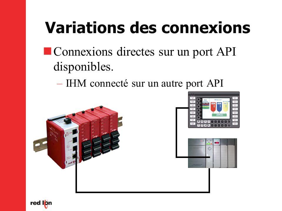 Variations des connexions Connexions directes sur un port API disponibles.