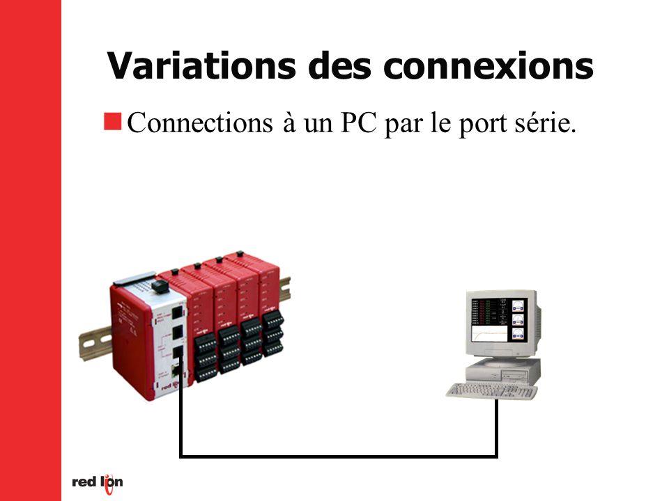 Variations des connexions Connections à un PC par le port série.