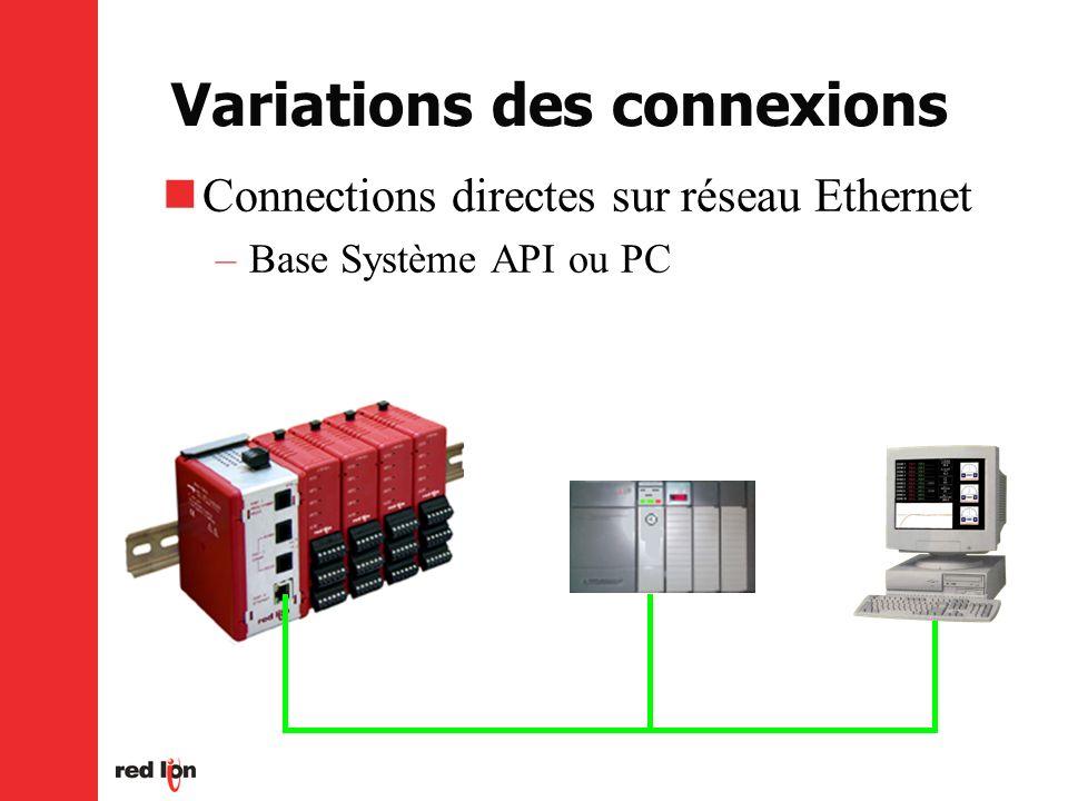 Variations des connexions Connections directes sur réseau Ethernet –Base Système API ou PC