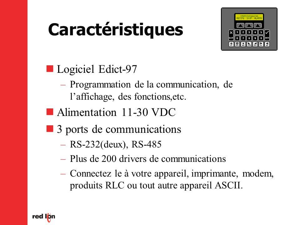 Caractéristiques Logiciel Edict-97 –Programmation de la communication, de laffichage, des fonctions,etc.