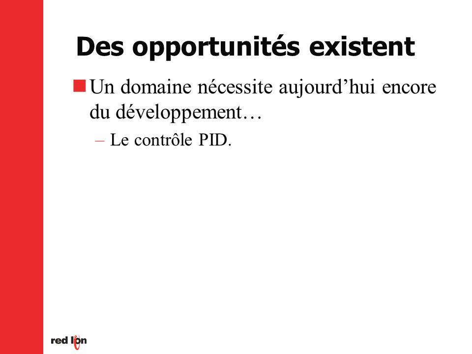 Des opportunités existent Un domaine nécessite aujourdhui encore du développement… –Le contrôle PID.