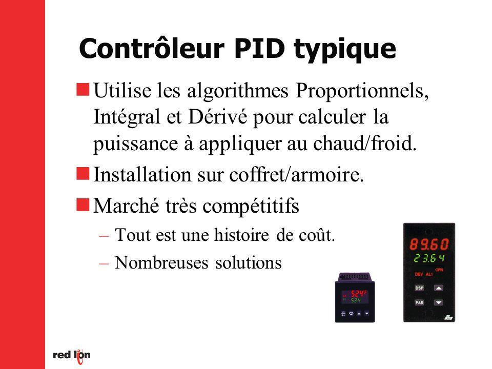 Contrôleur PID typique Utilise les algorithmes Proportionnels, Intégral et Dérivé pour calculer la puissance à appliquer au chaud/froid.