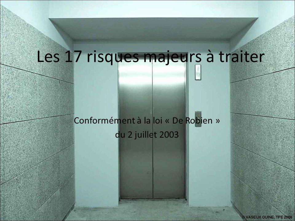 Risque à traiter avant le 2 juillet 2013 Améliorer la précision darrêt des cabines dascenseurs installés ou rénovés avant le 01/01/1983.