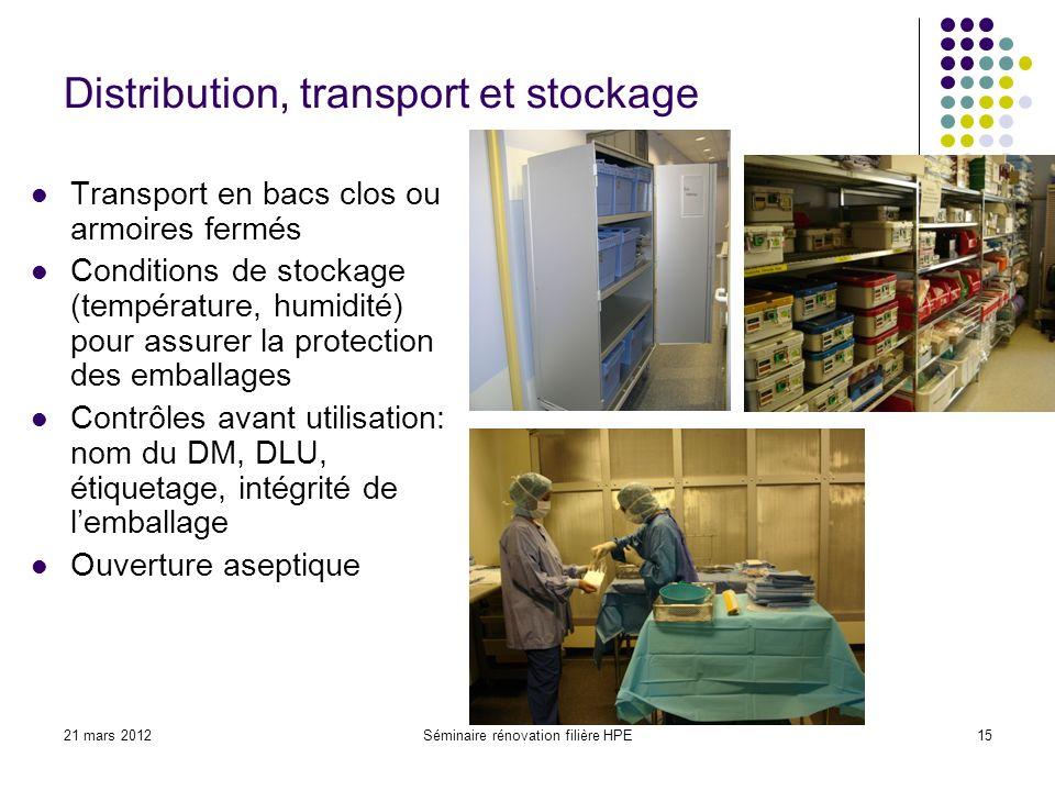21 mars 2012Séminaire rénovation filière HPE15 Distribution, transport et stockage Transport en bacs clos ou armoires fermés Conditions de stockage (t