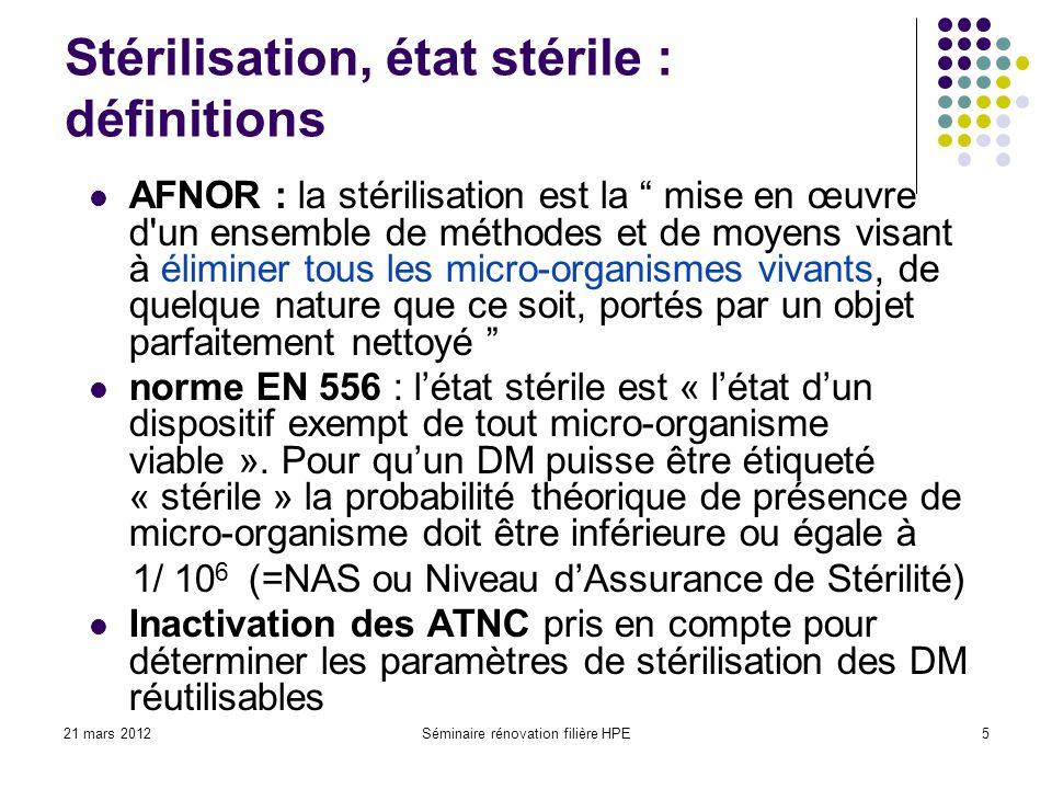 21 mars 2012Séminaire rénovation filière HPE5 Stérilisation, état stérile : définitions AFNOR : la stérilisation est la mise en œuvre d'un ensemble de