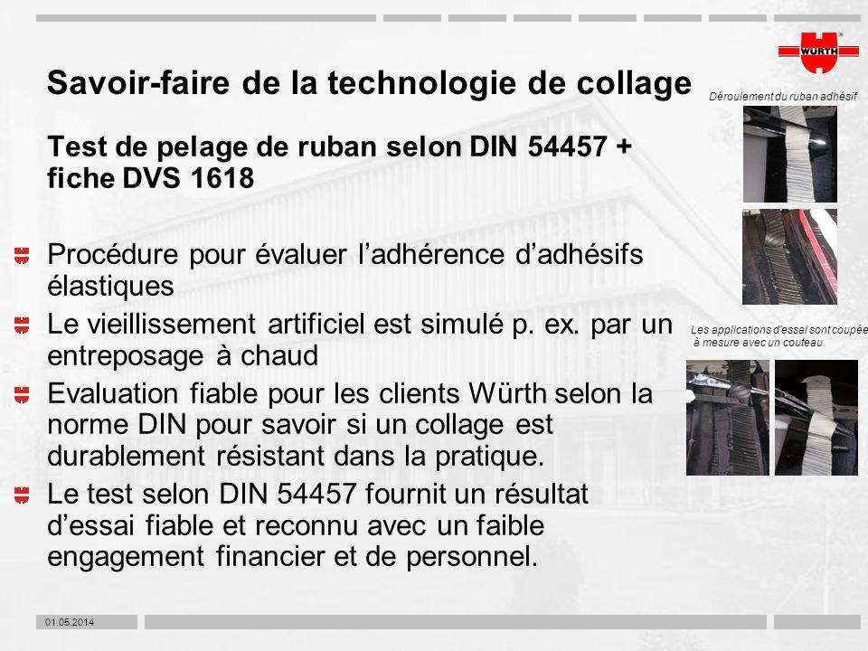 01.05.2014 Savoir-faire de la technologie de collage Test de pelage de ruban selon DIN 54457 + fiche DVS 1618 Procédure pour évaluer ladhérence dadhés