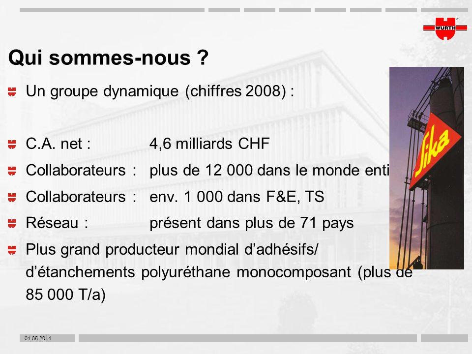 01.05.2014 Qui sommes-nous ? Un groupe dynamique (chiffres 2008) : C.A. net :4,6 milliards CHF Collaborateurs :plus de 12 000 dans le monde entier Col