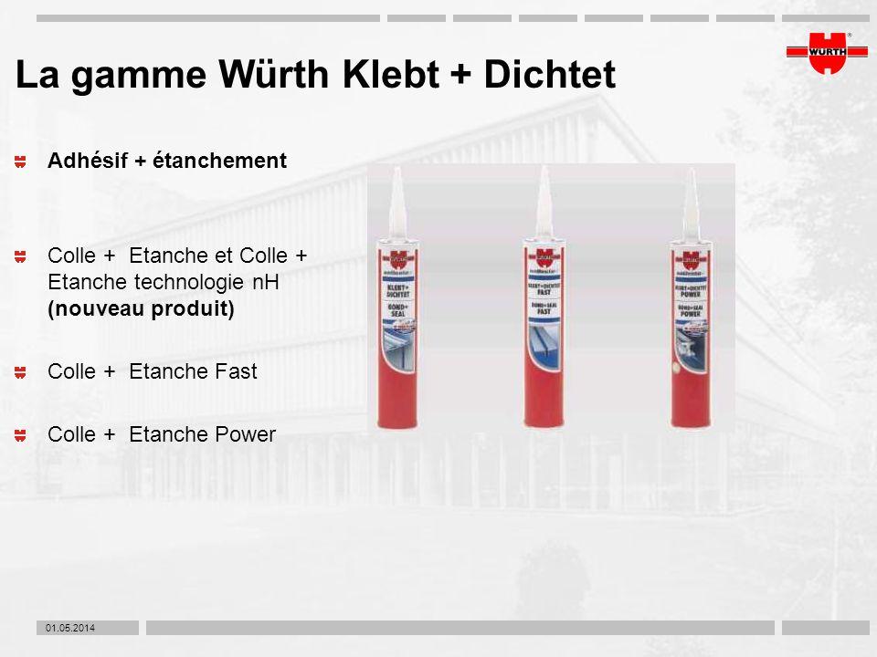 01.05.2014 La gamme Würth Klebt + Dichtet Adhésif + étanchement Colle + Etanche et Colle + Etanche technologie nH (nouveau produit) Colle + Etanche Fa