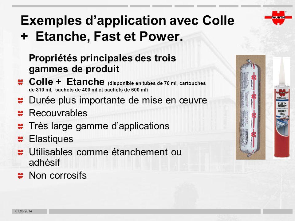 01.05.2014 Exemples dapplication avec Colle + Etanche, Fast et Power. Propriétés principales des trois gammes de produit Colle + Etanche (disponible e