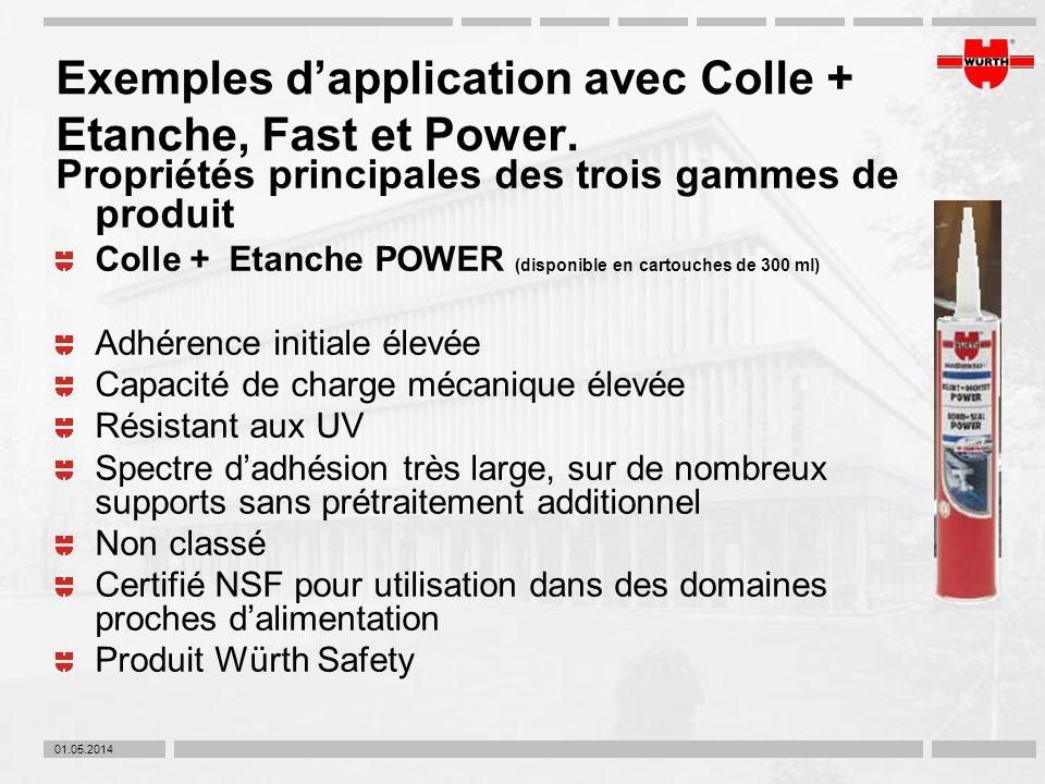 01.05.2014 Exemples dapplication avec Colle + Etanche, Fast et Power. Propriétés principales des trois gammes de produit Colle + Etanche POWER (dispon