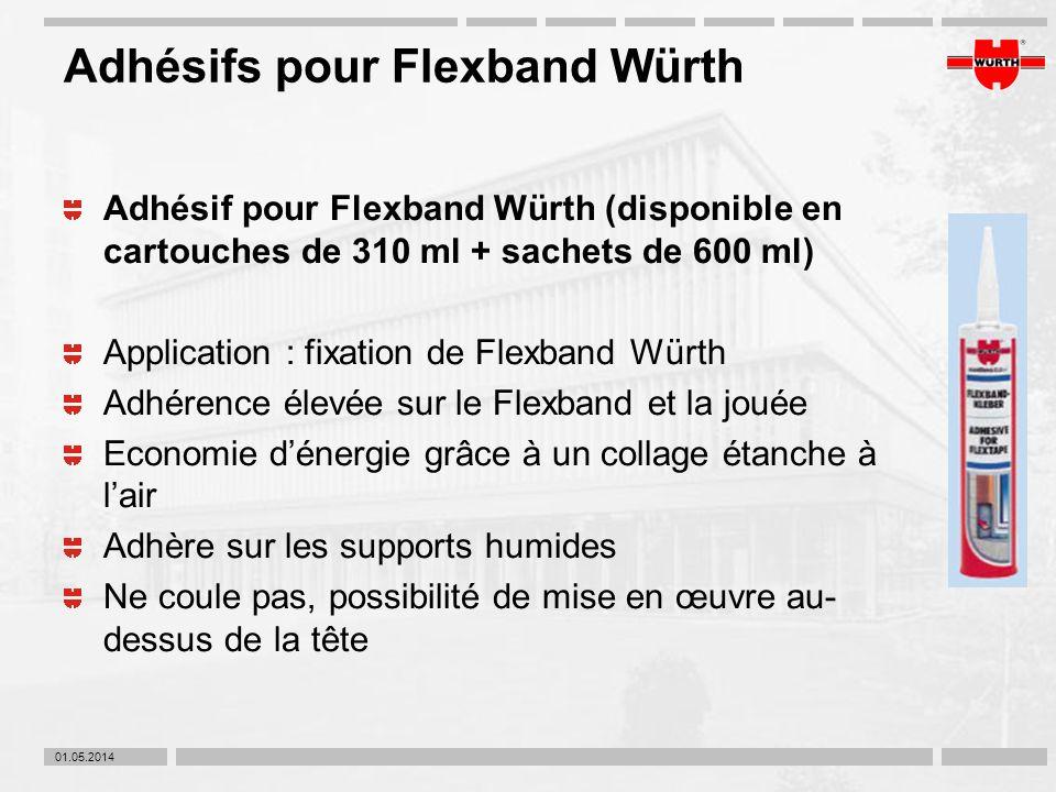 01.05.2014 Adhésifs pour Flexband Würth Adhésif pour Flexband Würth (disponible en cartouches de 310 ml + sachets de 600 ml) Application : fixation de