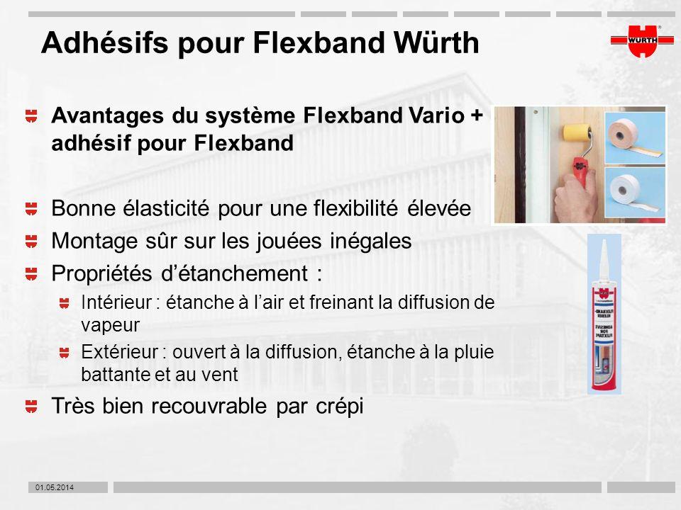 01.05.2014 Adhésifs pour Flexband Würth Avantages du système Flexband Vario + adhésif pour Flexband Bonne élasticité pour une flexibilité élevée Monta