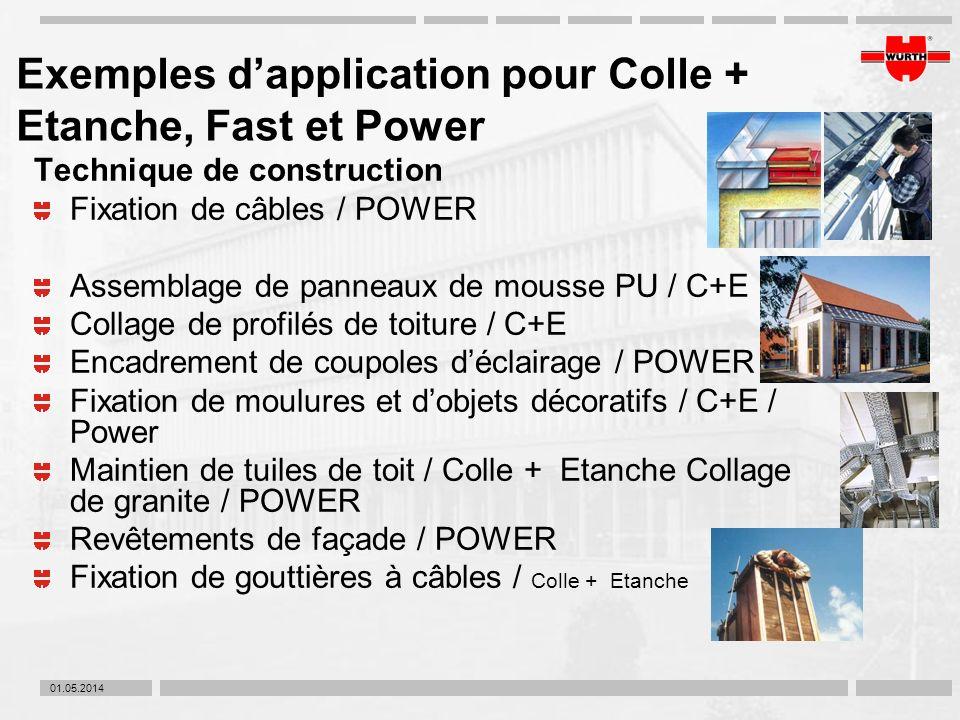 01.05.2014 Exemples dapplication pour Colle + Etanche, Fast et Power Technique de construction Fixation de câbles / POWER Assemblage de panneaux de mo