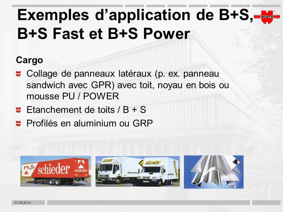 01.05.2014 Exemples dapplication de B+S, B+S Fast et B+S Power Cargo Collage de panneaux latéraux (p. ex. panneau sandwich avec GPR) avec toit, noyau