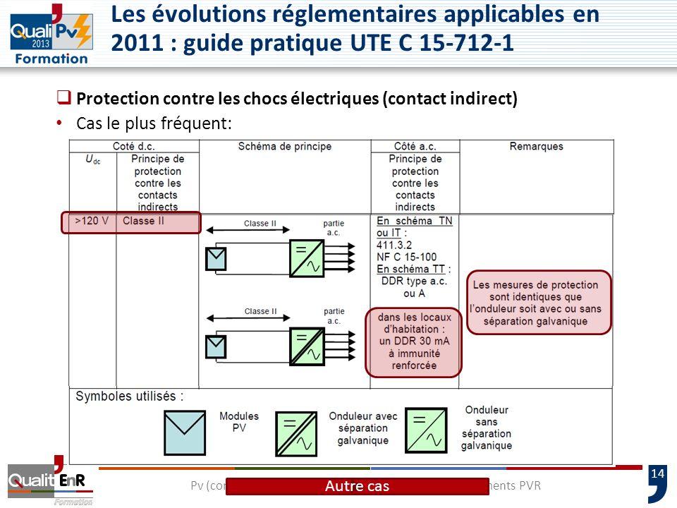 14 Les évolutions réglementaires applicables en 2011 : guide pratique UTE C 15-712-1 Protection contre les chocs électriques (contact indirect) Cas le plus fréquent: Pv (compétence électrique) – Maintenance des équipements PVR Autre cas
