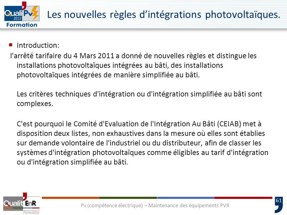 61 Les nouvelles règles dintégrations photovoltaïques.