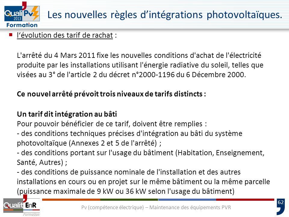 62 Les nouvelles règles dintégrations photovoltaïques.