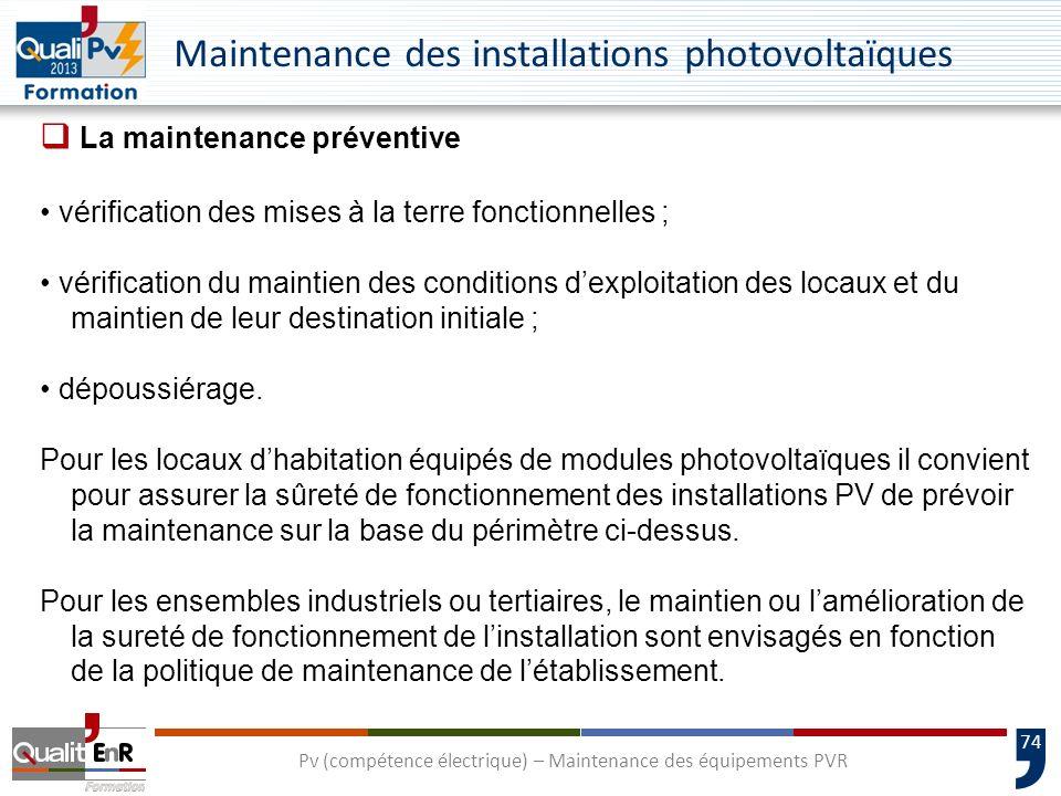 74 Maintenance des installations photovoltaïques La maintenance préventive vérification des mises à la terre fonctionnelles ; vérification du maintien des conditions dexploitation des locaux et du maintien de leur destination initiale ; dépoussiérage.