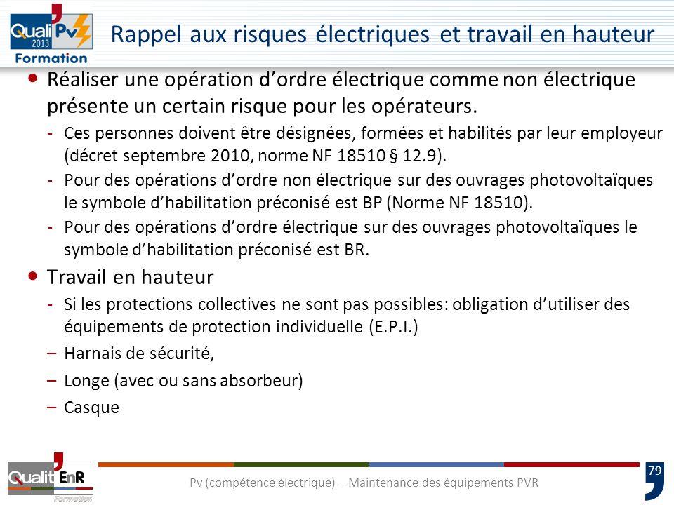 79 Rappel aux risques électriques et travail en hauteur Réaliser une opération dordre électrique comme non électrique présente un certain risque pour les opérateurs.
