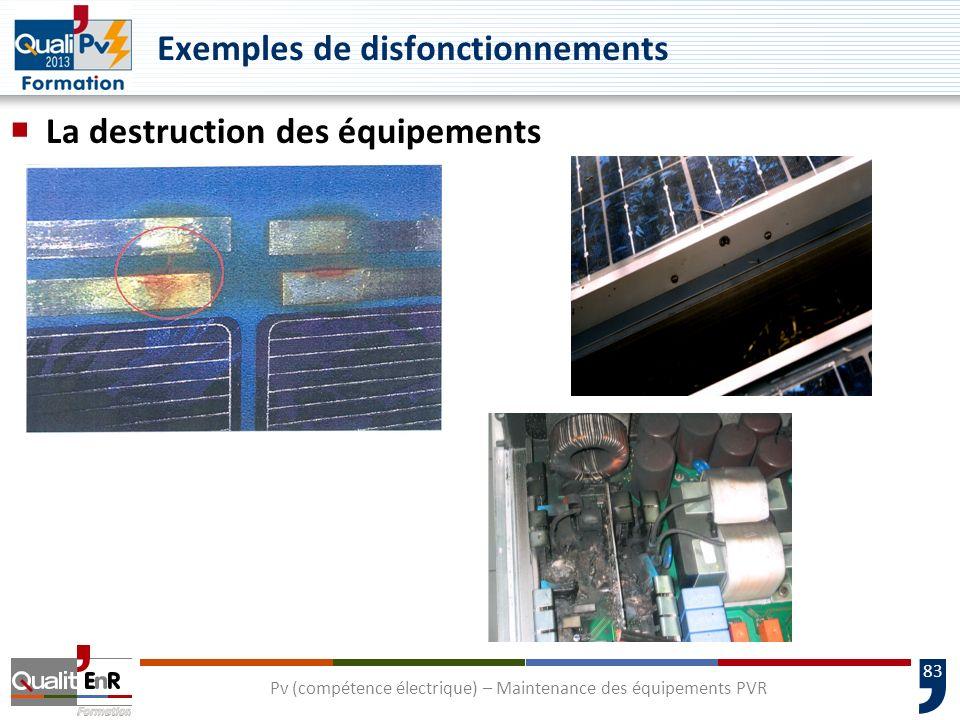 83 La destruction des équipements Pv (compétence électrique) – Maintenance des équipements PVR Exemples de disfonctionnements