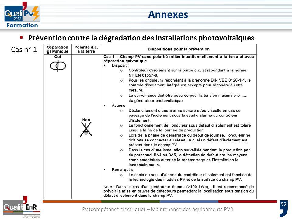 92 Prévention contre la dégradation des installations photovoltaïques Cas n° 1 Pv (compétence électrique) – Maintenance des équipements PVR Annexes