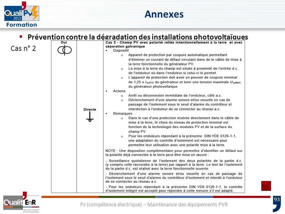 93 Prévention contre la dégradation des installations photovoltaïques Cas n° 2 Pv (compétence électrique) – Maintenance des équipements PVR Annexes