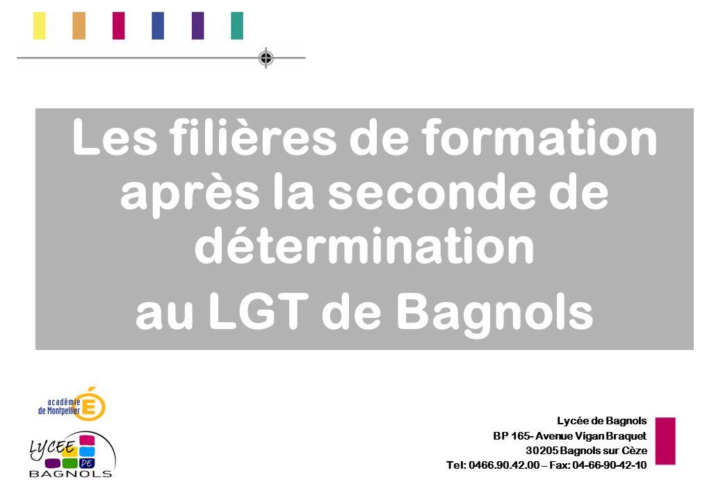 Lycée de Bagnols BP 165- Avenue Vigan Braquet 30205 Bagnols sur Cèze Tel: 0466.90.42.00 – Fax: 04-66-90-42-10 Les filières de formation après la secon