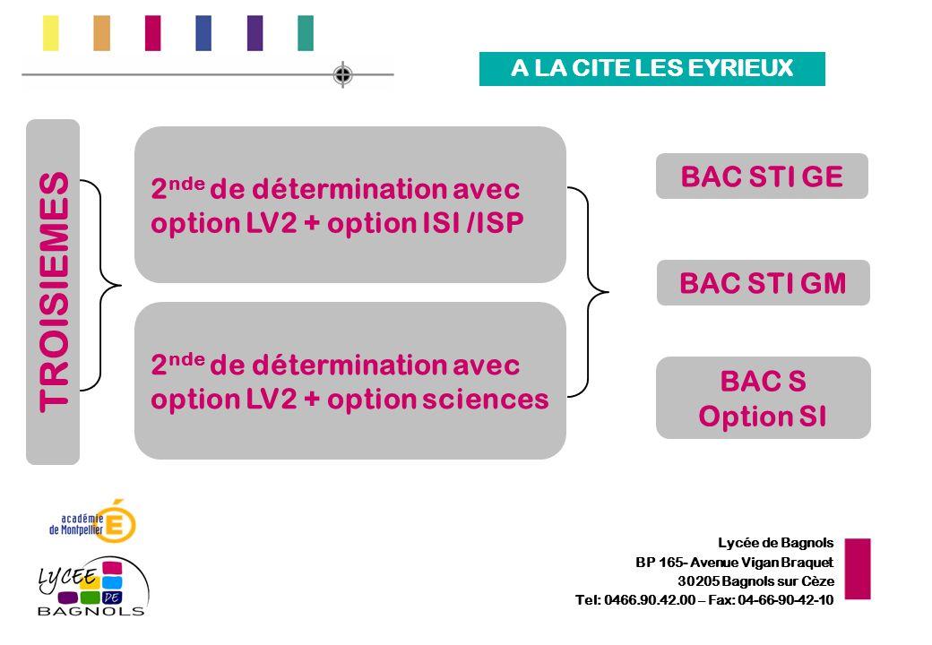 Lycée de Bagnols BP 165- Avenue Vigan Braquet 30205 Bagnols sur Cèze Tel: 0466.90.42.00 – Fax: 04-66-90-42-10 2 nde de détermination avec option LV2 +