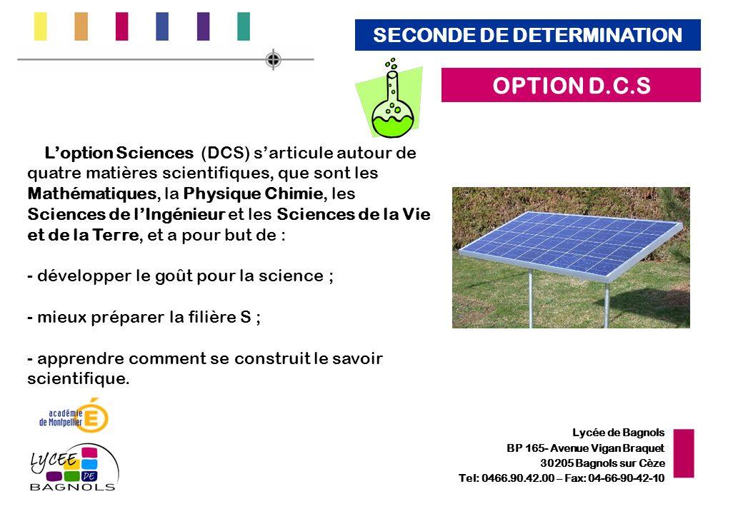 Lycée de Bagnols BP 165- Avenue Vigan Braquet 30205 Bagnols sur Cèze Tel: 0466.90.42.00 – Fax: 04-66-90-42-10 Loption Sciences (DCS) sarticule autour