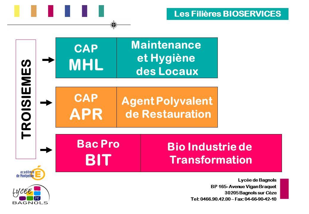 Lycée de Bagnols BP 165- Avenue Vigan Braquet 30205 Bagnols sur Cèze Tel: 0466.90.42.00 – Fax: 04-66-90-42-10 Les Filières BIOSERVICES TROISIEMES CAP