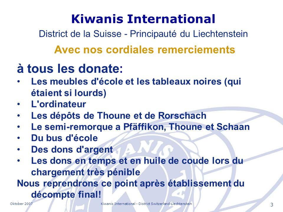 Oktober 2007Kiwanis International - District Switzerland-Liechtenstein 14 Quelques contacts importants Kastriot Faci Maie Lorenc Luca Ministre de l éducation Lora Mandi Directeur d école Ymer Vila Dr.