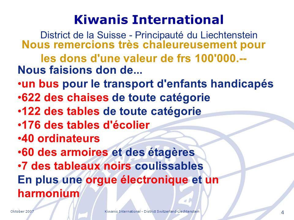 Oktober 2007Kiwanis International - District Switzerland-Liechtenstein 15 Quelques uns des contacts les plus importants Monsieur Riza Poda, ombudsman du parlement albanais.