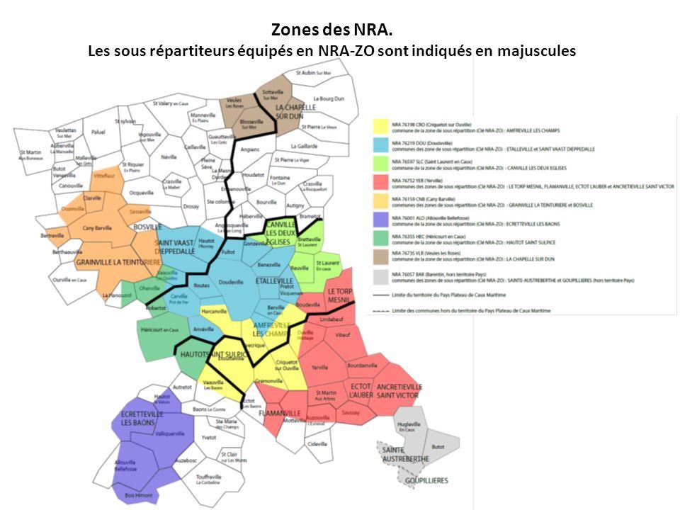Zones des NRA. Les sous répartiteurs équipés en NRA-ZO sont indiqués en majuscules