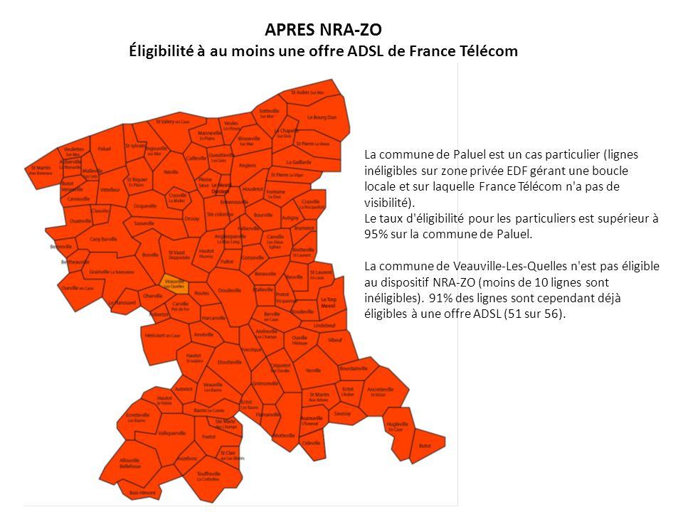 APRES NRA-ZO Éligibilité à au moins une offre ADSL de France Télécom La commune de Paluel est un cas particulier (lignes inéligibles sur zone privée E