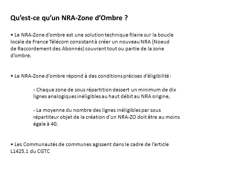 Quest-ce quun NRA-Zone dOmbre ? Le NRA-Zone dombre est une solution technique filaire sur la boucle locale de France Télécom consistant à créer un nou