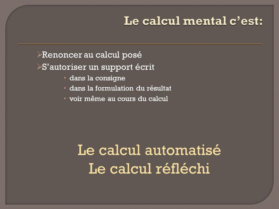 Renoncer au calcul posé Sautoriser un support écrit dans la consigne dans la formulation du résultat voir même au cours du calcul Le calcul automatisé