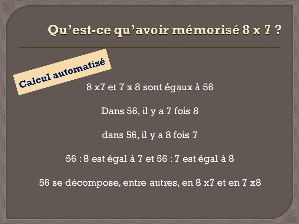 8 x7 et 7 x 8 sont égaux à 56 Dans 56, il y a 7 fois 8 dans 56, il y a 8 fois 7 56 : 8 est égal à 7 et 56 : 7 est égal à 8 56 se décompose, entre autr