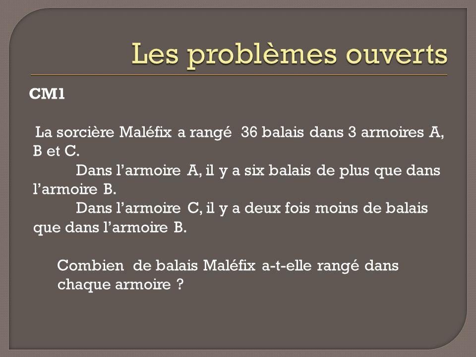 CM1 La sorcière Maléfix a rangé 36 balais dans 3 armoires A, B et C. Dans larmoire A, il y a six balais de plus que dans larmoire B. Dans larmoire C,