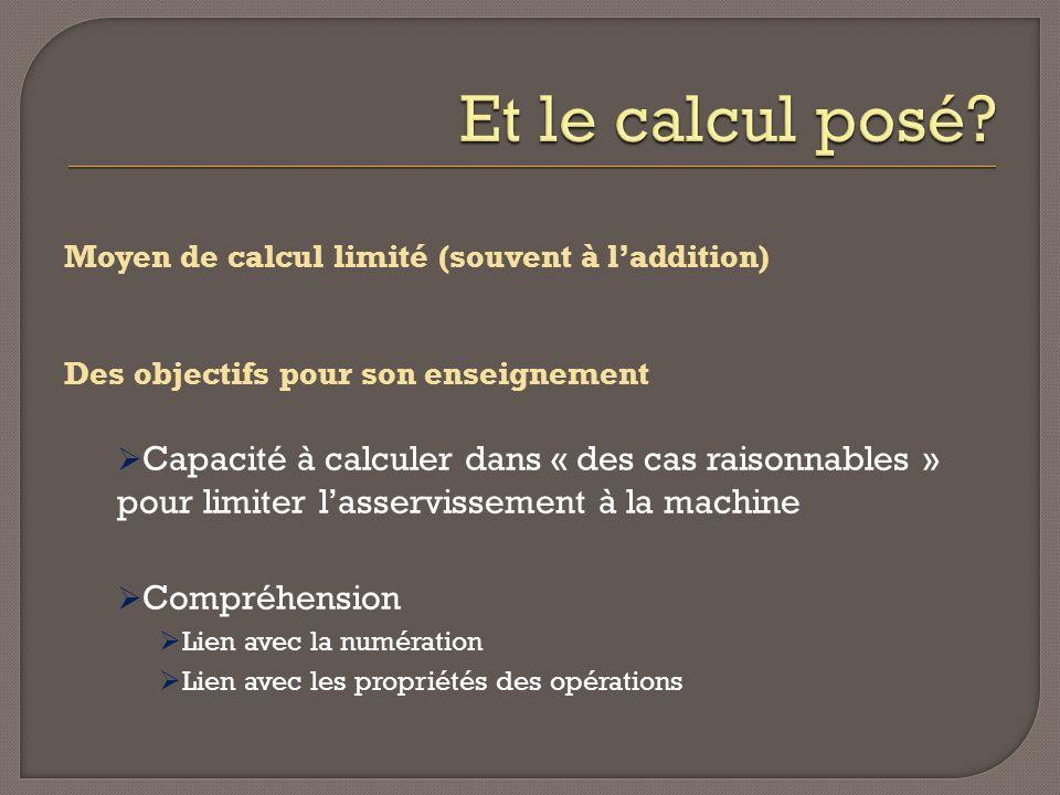 Moyen de calcul limité (souvent à laddition) Des objectifs pour son enseignement Capacité à calculer dans « des cas raisonnables » pour limiter lasser