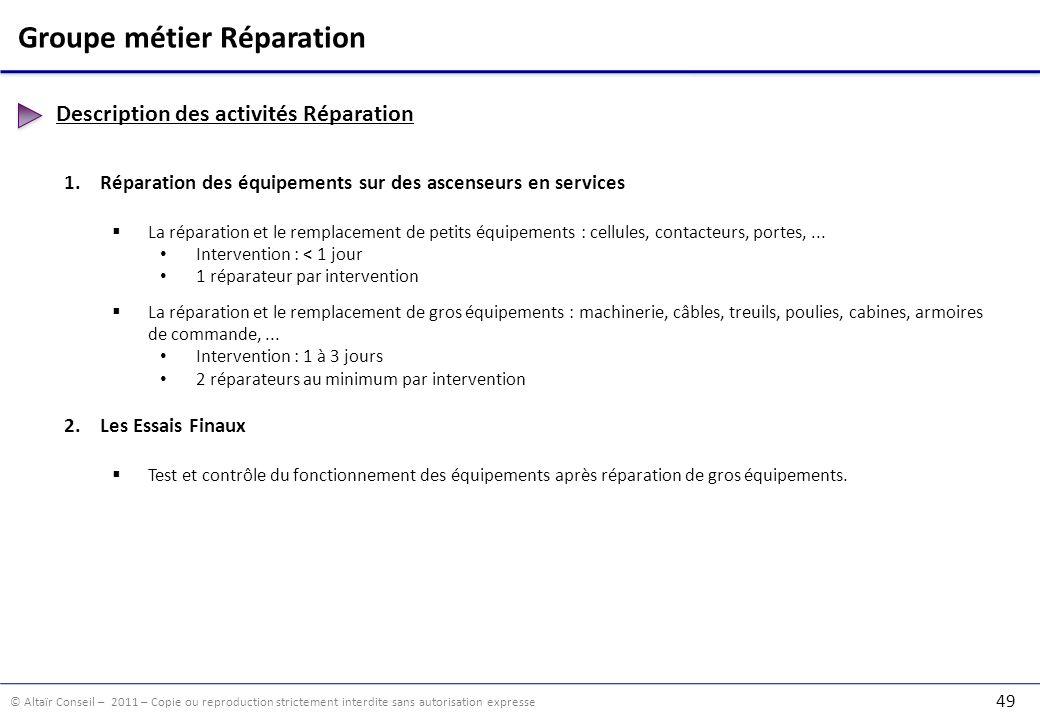 © Altaïr Conseil – 2011 – Copie ou reproduction strictement interdite sans autorisation expresse 49 Groupe métier Réparation Description des activités