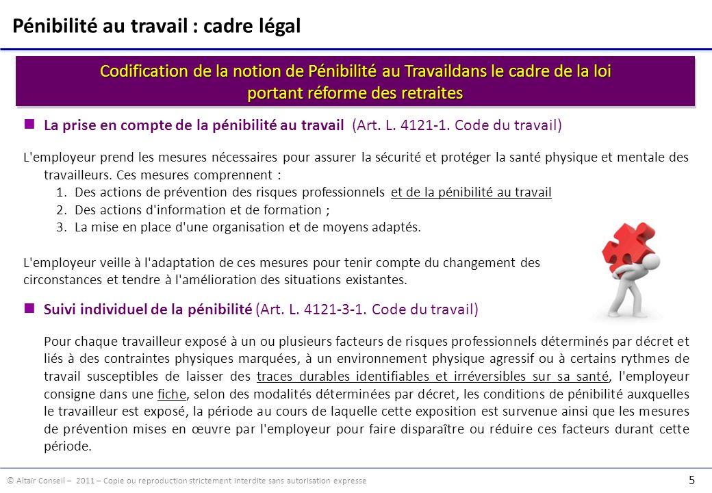 © Altaïr Conseil – 2011 – Copie ou reproduction strictement interdite sans autorisation expresse 5 Codification de la notion de Pénibilité au Travaild