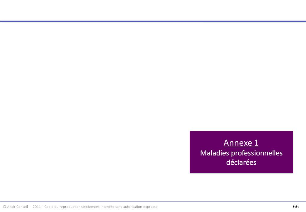 © Altaïr Conseil – 2011 – Copie ou reproduction strictement interdite sans autorisation expresse 66 Annexe 1 Maladies professionnelles déclarées Annex