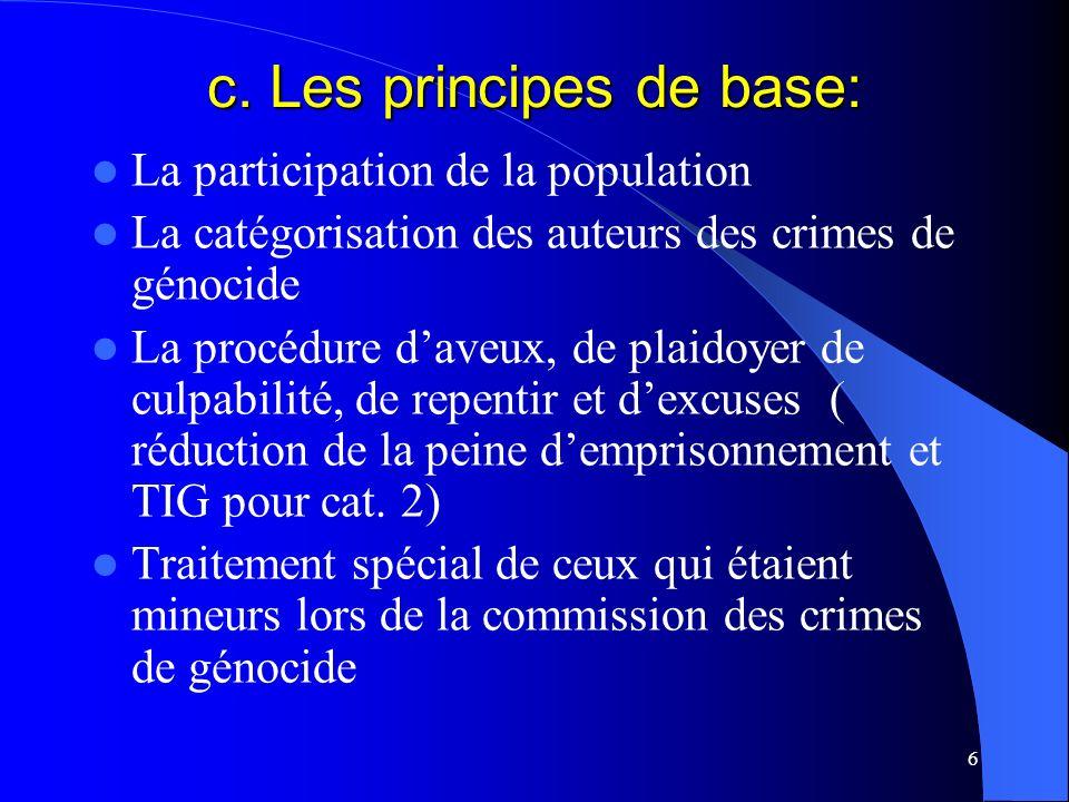 6 c. Les principes de base: La participation de la population La catégorisation des auteurs des crimes de génocide La procédure daveux, de plaidoyer d