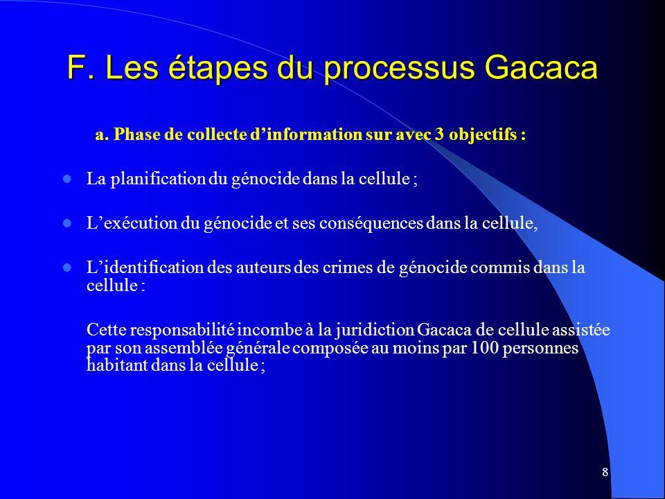 8 F. Les étapes du processus Gacaca a.